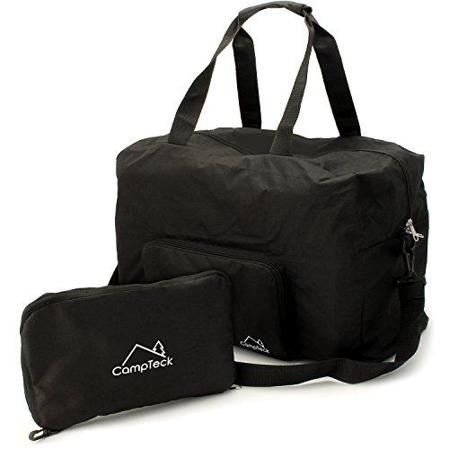 CampTeck 38.5L Faltbar Reisetasche Duffle Bag für Handgepäck, Gym, Camping, Sport, Shoppen - Schwarz
