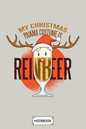 Reindeer Beer Christmas Notebook: Lined College Ruled Paper, Diary, Matte Finish Cover, Planner, Journal, 6x9 120 Pages