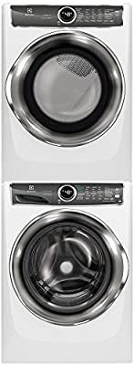 """Electrolux White Front Load Laundry Pair with EFLS627UIW 27"""" Washer, EFMG627UIW 27"""" Gas Dryer and STACKIT7X Stacking Kit"""