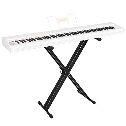 LAGRIMA LAG-610 Full Size Key Portable Digital Piano, 88 Key Electric Keyboard Piano for Beginner/Adults with X Stand, Bluetooth, Sustain Pedal, Power Supply, Music Stand, White