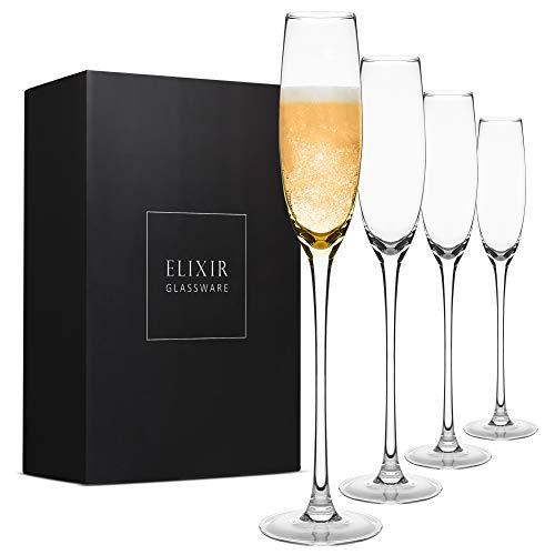 Crystal Champagne Flutes Set of 4 - Elegant Champagne Glasses, Hand Blown -...
