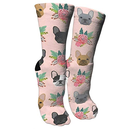 French Bulldog Flowers Florals Unisex Long Cotton Compression Socks With Funny Patterned For Ski, Softball And Hockey Athletic