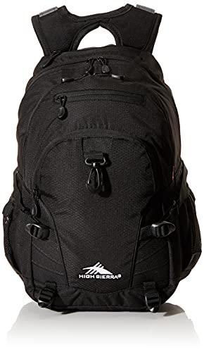 High Sierra Loop-Backpack, School, Travel, or Work Bookbag with tablet-sleeve, Black, One Size