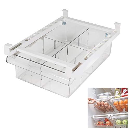 Diskary Kühlschrank Schublade Organizer Bins, Mit Griff Herausziehen, Aufbewahrungsbox für Kühlschrank Regalhalter, Klarer Behälter für Lebensmittel Getränke Eier Obst, Abnehmbare Partitionen