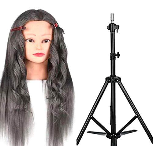 Tête De Mannequin Cheveux 70% Naturels Femme Pour Les Instituts De Beauté Salon De Coiffure Permanent/Apprentissage Du Style De Mariée,Gray2,20\