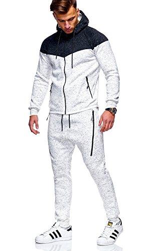 MT Styles Herren Trainingsanzug 2-Colour Jogginganzug Sportanzug R-971 [Weiß, L]