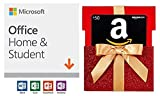 Amazon.com Gift Card in a Red Gift Box Reveal with Microsoft Office Home and Student 2019 | 1 device, Windows 10 PC/Mac Download