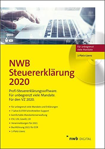 NWB Steuererklärung 2020 – 1-Platz-Lizenz: Software für unbegrenzt viele Erklärungen. Für den VZ 2020. Mit Buchführung 2021 für EÜR. 7 Jahre Elster-Schnittstellen-Support. CD-Version.