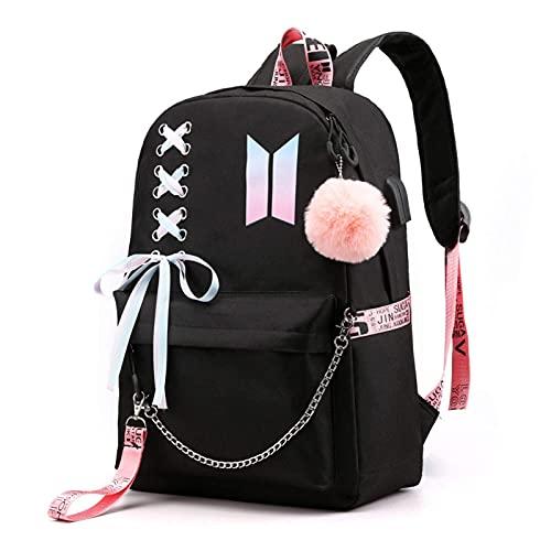 BOOSOS Mochila USB BTS K-POP mochila casual mochila mochila para ordenador portátil bolsa de colegio bolsa de escuela Jimin Suga Jin Taehyung V Jungkook - negro - talla única