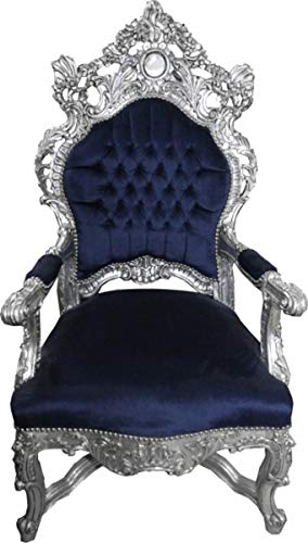 Casa Padrino Barock Thron Sessel Royalblau/Silber - Unikat - Barock Möbel Tron Königssessel
