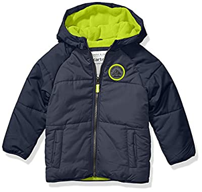 Carter's Boys' Little Adventure Bubble Jacket, Armour Gray/Azul/Radioactive, 5/6