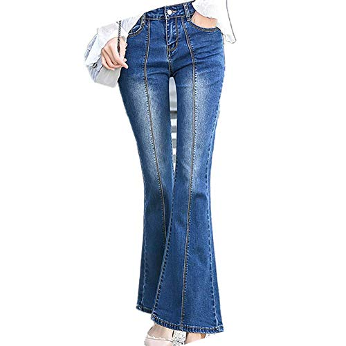 UHFIA Women Elastic Micro Flared Jeans Women Long Flared Pants Medium High Waist Big Flared Dark Blue