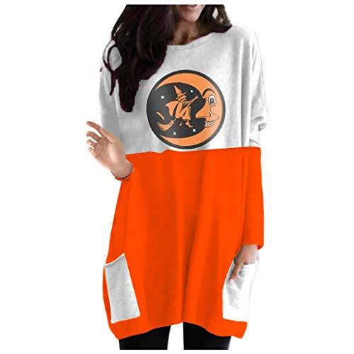 EUCoo Damen Happy Halloween Print Langarm Sweatshirt Casual Bluse Pullover (J) Gr. XXXXXL, gelb