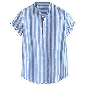ティーシャツ メンズ 人気 Monikall(モニカル) シャツ メンズ 半袖 tシャツ ストライプ 綿麻 ポロシャツ カジュアル ボタン プルオーバー 薄手 通気性 夏服 おおきいサイズ ビジネス ティーシャツ オシャレ 人気 トップス 通勤 柔らかい ゆったり スウェット おしゃれ トレーナー ゴルフ(ブルー,2XL)