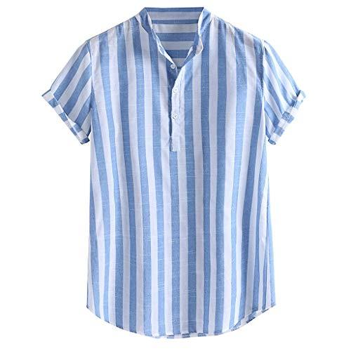 Herren Shirt Gestreifte Polohemd Baumwolle Leinen Henry Colla Loose Kurzarm Polo Shirts Casual Buttons Hemden, Blau, Medium