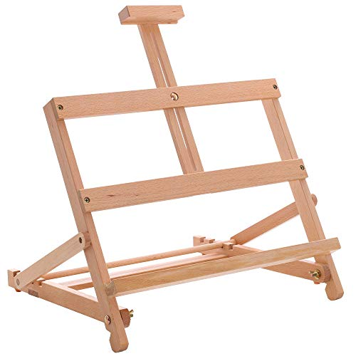 """U.S. Art Supply 24"""" High Small Laptop Wooden H-Frame Studio Easel - Artists Adjustable Tabletop Beechwood Painting and Display Easel, Holds Up To 19"""" Canvas, Portable Sturdy Table Desktop Holder Stand"""