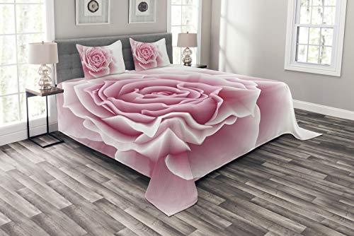 ABAKUHAUS Blassrosa Tagesdecke Set, Rosenblätter Schönheit, Set mit Kissenbezügen Romantischer Stil, für Doppelbetten 220 x 220 cm, Pale...
