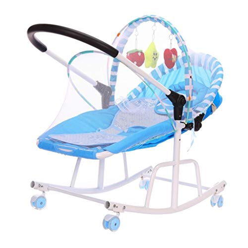 LXJ Agitador, Cuna móvil Multifuncional con mosquitera con Rodillo, Apto para Uso Diario por recién Nacidos/bebés de 0-18 Meses, (80 × 40 × 70 cm) (Color : Blue)