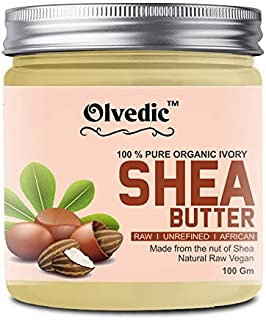 Olvedic Ivory coco & Shea Butter | Raw | Unrefined | African | Great For Face, Skin, Body & Lips (Shea Butter, 100 gm)