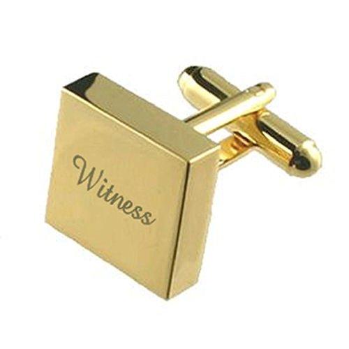 APS Cufflinks Oro Cuadrado Personalizado Grabado Personalizado Gemelos de Boda + Seleccionar Bolsa de Regalos, Dorado