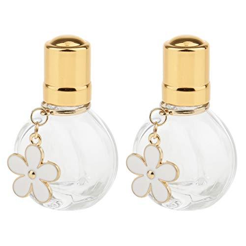 HomeDecTime Bouteilles De Rouleau De Parfum De Bricolage De 2 Lots Mini Flacons De Récipient De Bouteille D'échantillon Liquide Rond
