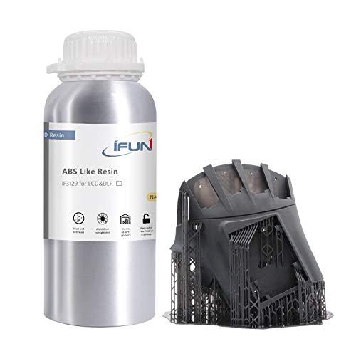 IFUN ABS-Like Resin 3D 405nm LCD&DLP Printer High Impact High Tough Strength HiTemp Rapid SLA UV-Curing 3D Printing Liquid Photopolymer 500ml (Black)