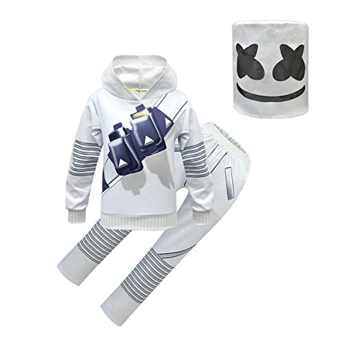 Easter DJ Costume for Kids, Party Dress Up Sets Christmas Themed Cosplay Jumpsuits Accessories Birthday Gifts Holiday Casual Play Halloween Costumes with Full Head Masks(White/3Pcs Outfits,160,8-10Y)
