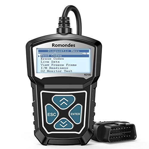 Code Reader, Automotive Check Engine Light OBD2 Scanner, Romondes RD100 Car Scanner Diagnostic Tool Auto Read & Erase Engine Fault Codes for All Vehicle After 1996