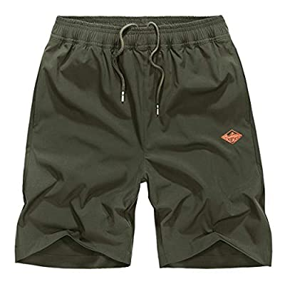EXEKE Men's Quick Dry Shorts Lightweight Hiking Shorts Gym Workout Shorts Zipper Pockets 252-Army Green/tag:3XL