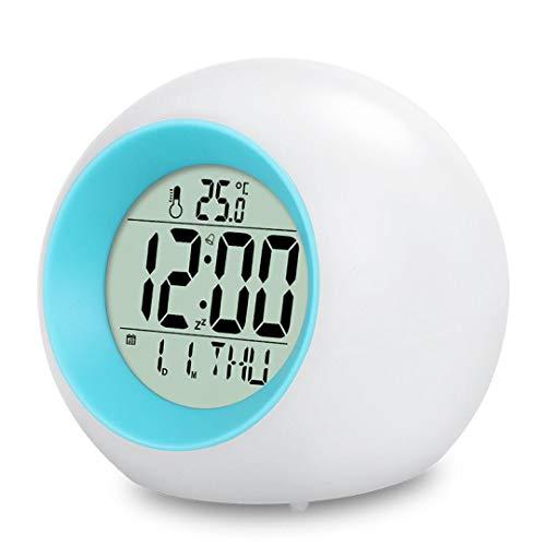 ARTOCT LED Kinderwecker, Wake Up Wecker 7 Farbwechsel Ändern Lichtwecker für Kinder, 12/24 Stunden Digitaluhr Licht, One-Tap-Control, Nachttischuhr mit Datum, Temperatur und Schlummerfunktion