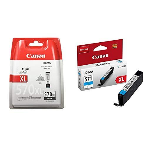 Canon PGI-570XL Cartucho de Tinta BK para Impresora de Inyeccion Pixma + CLI-571XL C Cartucho de Tinta para Impresora de Inyeccion Pixma