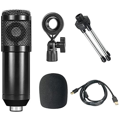 CNmuca Microfone condensador USB 192KHZ / 24BIT Kit de microfone de streaming de microfone de estúdio Microfone cantor para gravação e jogos preto 50 x 50 x 160 mm