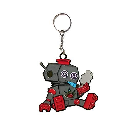 Hat Shark Pals Cute Little Stoner Machine Spiral Eyed Robot Friend - Enamel Metal Pendant Key Chains