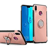 Huawei Y9 2019 Case, Ranyi [2 Piece Ring Cover] [Adsorbed Iron Plate] [360 Rotating Metal Ring] Premium Hybrid 360 Full Body Protective 2 in 1 Rubber Case for Huawei Y9 2019 (Rose Gold)