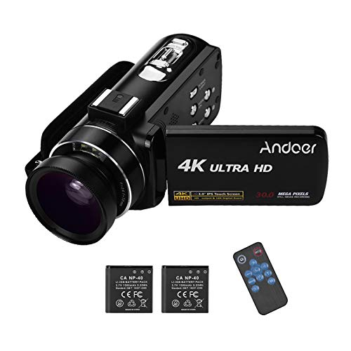 Andoer 4K Camcorder 18X 3.0 inch IPS Monitor with 0.45X Wide...