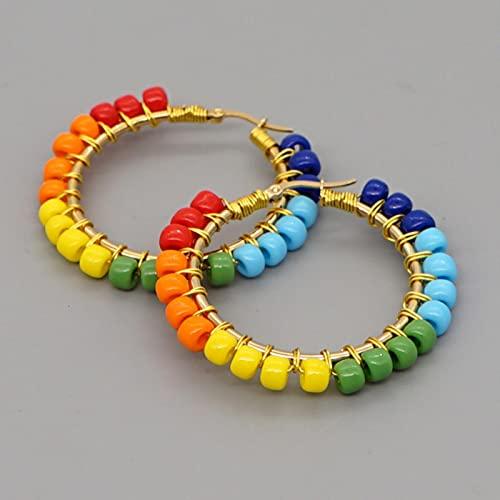 CXWK Pendientes de aro de Anillo de Oreja con Cuentas, joyería de Piedra Natural Bohemia, Pendientes de Mujer, círculo de Acero Inoxidable