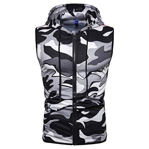 Hommes Musculation Gym Workout Muscle Stringer Gilet sans Manches à Capuchon Débardeur,Casual Slim Camouflage Imprimé sans Manches à Capuche Zipper T-Shirt Top Blouse M-3XL