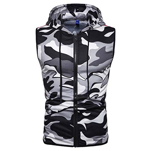 Hommes Musculation Gym Workout Muscle Stringer Gilet sans Manches à Capuchon Débardeur,Casual Slim Camouflage Imprimé sans Manches à Capuche Zipper T-Shirt Top Blouse M-3XL