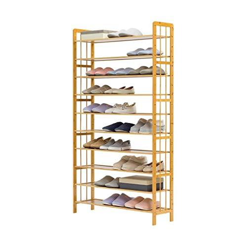 Zapatero 10-Tier organizador de madera del estante del zapato, estante extensible Gabinete de almacenamiento, con capacidad for 40-50 pares de zapatos, for sala de estar dormitorio Puerta de entrada