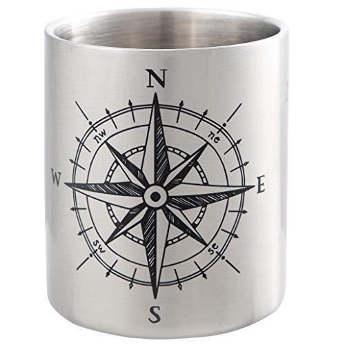 KOMPASS | Maritime Edelstahltasse mit Kompass Design | ideal für Segler und Globetrotter | bruchsicher und leicht, doppelwandige Isolation | von MUGSY.de