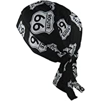 Bandana pañuelo para la Cabeza pre Atada USA Route 66 en Blanco y Negro