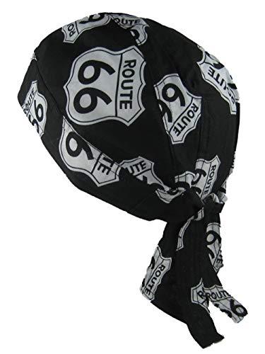 Bandana pañuelo para la Cabeza pre Atada USA Route 66 en Blanco y Neg