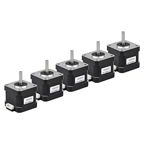 Rtelligent 42A02C Schrittmotor 2 Phasen Nema 17 Arduino Mini Stepping 42 Ncm 1,5 A Strom 38 mm Länge Bipolar 4,5 mm Welle mit 30 cm Kabel für 3D-Druck CNC (42A02C-Dupont, 5)