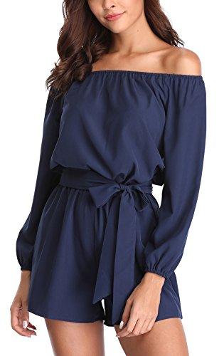 MISS MOLY Jumpsuit Damen Sommer Kurz Sexy Einteiler Playsuit Romper Elegant Blau Small