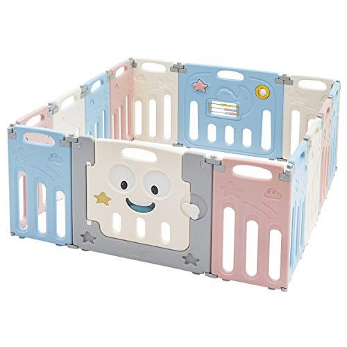 COSTWAY Parque Infantil Bebé con 14 Paneles Plegable Centro de Actividad para Niños...