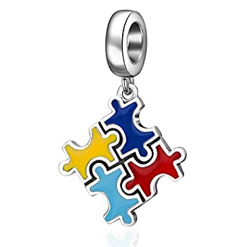 Autism Awareness Charms fit Pandora Bracelet 925 Sterling Silver Dangle Puzzle Piece Enamel Colorful Beads Gift for Autism Mom/Teacher/Girl/Child