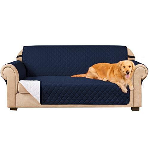 subrtex Gesteppt Sofabezug Reversibel Möbelschutz mit Gummiband Stuhlüberzüge für Wohnzimmer Sessel Schonbezüge Möbelschoner für Sofas(3 Sitzer, Marine)