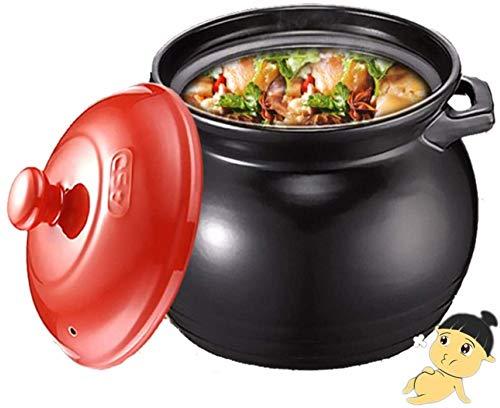 HYYDP Cookware Cooking Pot Health Round Ceramic Stone Pot, Slow Cookers Pot Large Capacity Kitchen Soup Pot Casserole Porridge Gas High Temperature (Color : Black, Size : 4.6L)