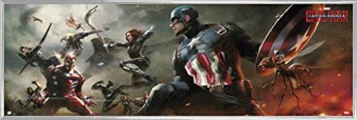 1art1 Captain America Tür-Poster und Kunststoff-Rahmen - Civil War, Marvel (158 x 53cm)