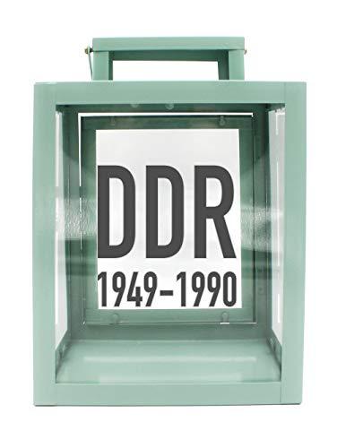 WB wohn trends Metall-Laterne mit Aufdruck, DDR 1949-1990, Mint-grün, 25x18x13cm, für LED-Kerzen, Farbauswahl möglich